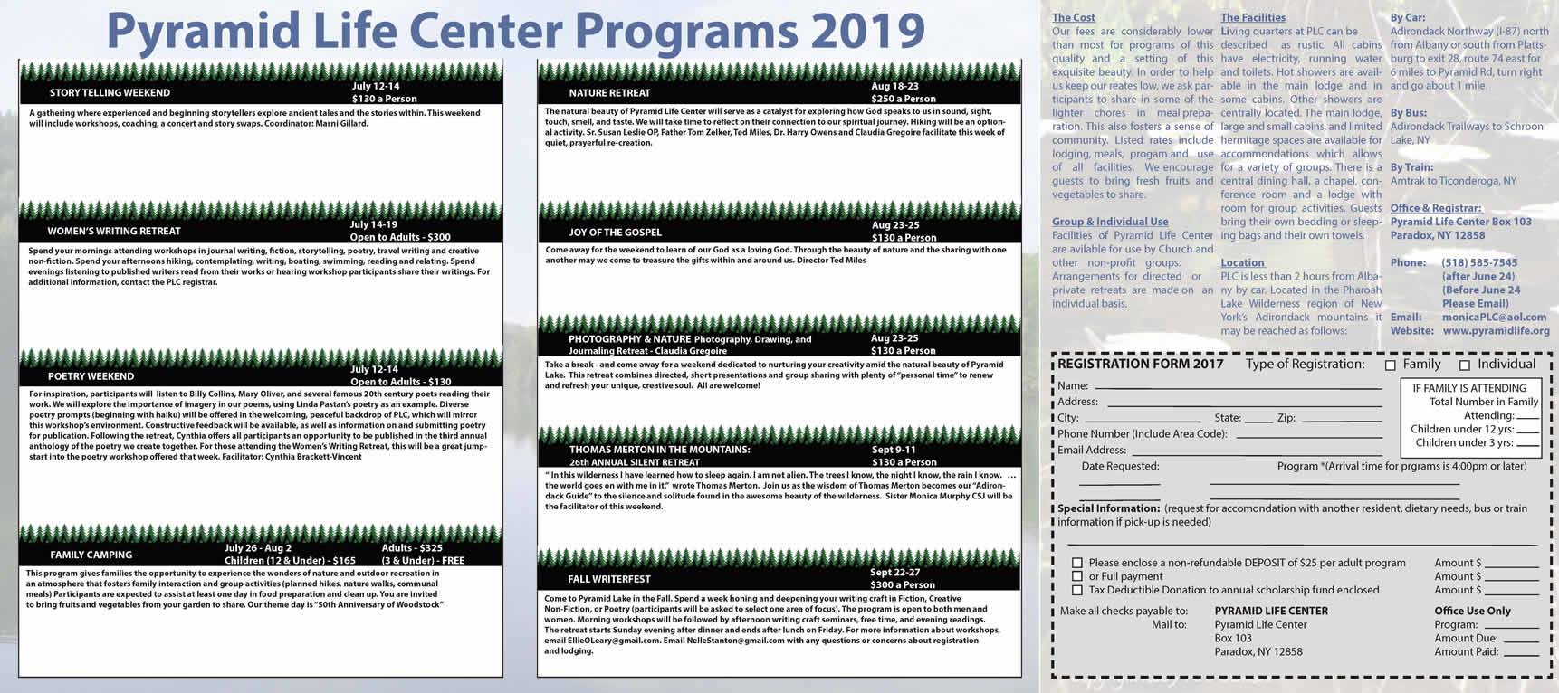 Pyramid Life Center's Program Brochure